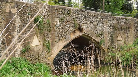 The bridge at Rushford which was damaged by a large vehicle over the Easter Weekend. Picture: Denise