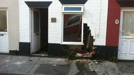 The house in Bevan Street West in which a car crashed into