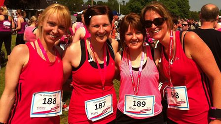 Ormesby mums after doing Race for Life 10k 2014, (L-R) Amanda Fowler, Karen Gibson, Debra Hunt and S