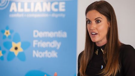 Charlie Webster speaking at the Dementia Alliance awareness event in Norwich. Photo: Bill Smith