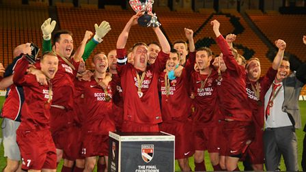 AFC Wanderers celebrate winning the Sunday Senior Cup match against Windmill at Carrow Road. Picture