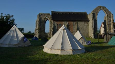 DigVentures' camp at the abbey.