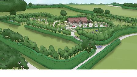 Artist's impression of the memorial park and crematorium which is being proposed at Ellough near Bec