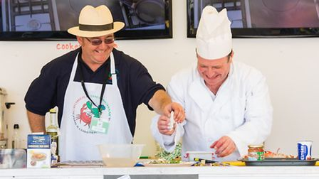 Chefs Nick Samujlik and Andreas Yiasimi at the crab and lobster cookery theatre
