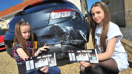 Cousins Sophie Norman and Katie Norman-Rial, both 11, who were on their way to see One Direction whe
