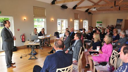 Mike Minors, owner of the Boathouse in Ormesby, talking at the annual Broads Tourism meeting 2014 wh