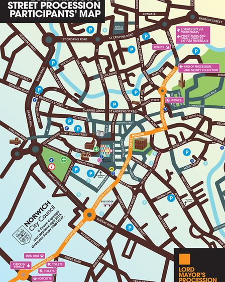 Lord Mayor's Street Procession Participant's map