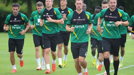 Norwich City players in training. Picture: Denise Bradley