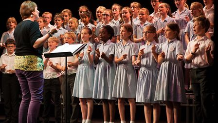 Norwich School students rehearsing for their Big Night Out gala show at the Theatre Royal. Photo: Bi