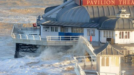 Cromer Pier takes a battering during December's high tides.PHOTO: ANTONY KELLY