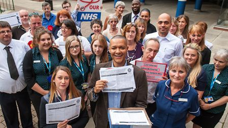 Jess Asato and Clive Lewis with the walk-in centre petiton at Castle Mall. Photo: Bill Smith