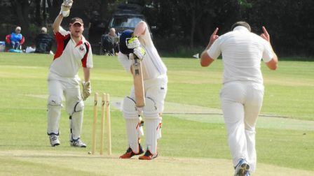 Wayne Hall (bowler) celebrate taking a wicket against Halvergate. Picture: Lizzy Hampson