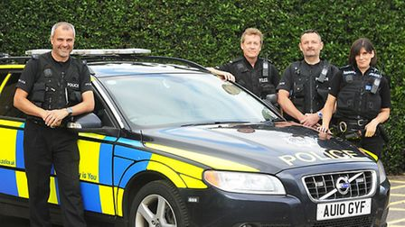 Police Officers (from left) PC Nathan Woodgate, PC George Healey, PC Chris Curtis and PC Paula Gillu