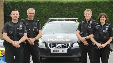 Police Officers (from left) PC Chris Curtis, PC Nathan Woodgate, PC George Healey and PC Paula Gillu