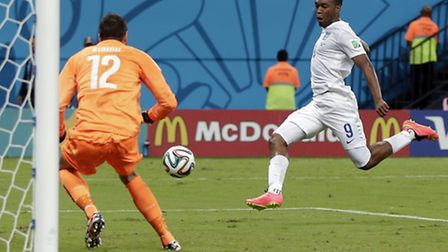 Daniel Sturridge finishes a brilliant move to score for England against Italy. Both sides will hope