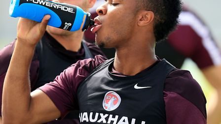 England's Raheem Sterling during a training session in Rio.