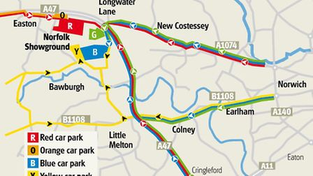 Traffic routes for the Royal Norfolk Show.
