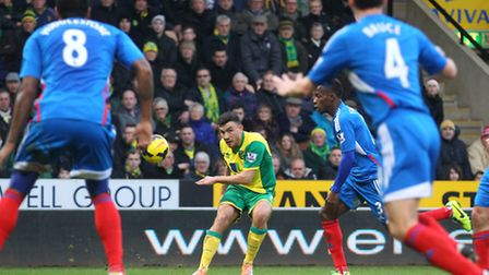 Robert Snodgrass in action for Norwich City against Hull City earlier this season. Picture by Paul C