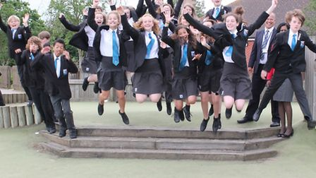 Pupils from Beccles Free School celebrating their first Ofsted