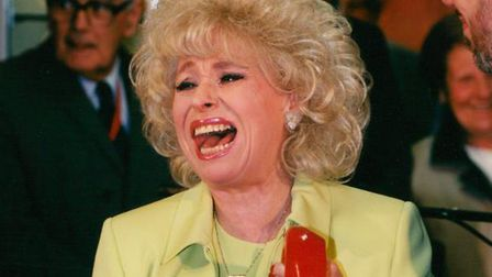 Dame Barbara Windsor opening the new Post Office in Castle Mall, 1996.