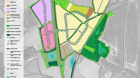 The garden neighbourhood will be split into different areas including housing (yellow), employment space (purple) and a...