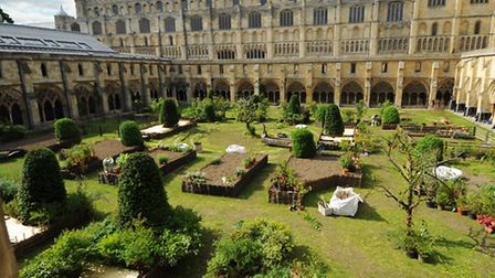 The garden under construction in Norwich Cathedral cloisters for filming of Tulip Fever. Picture: De