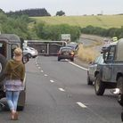Caravan crash on A47, which caused delays and tailbacks for people leaving the Norfolk Show. Photo: