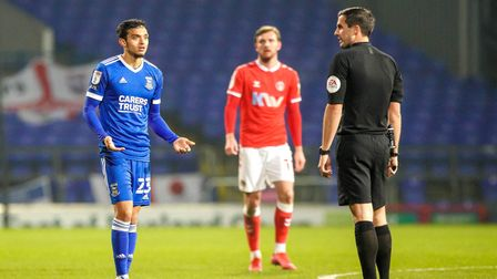 Andre Dozzell appeals to referee Craig Hicks. Picture: Steve Waller www.stephenwaller.c