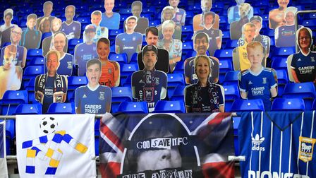 Cardboard cut-outs have been the only fans allowed inside Portman Road so far this season Picture: S