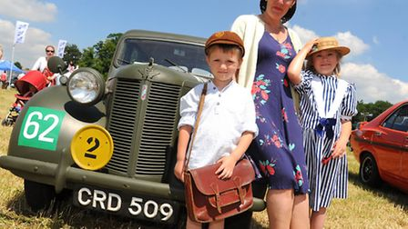 Journey Through The Ages vintage fair at Palgrave. Julie Hines with Sam and Natalie and their Austin