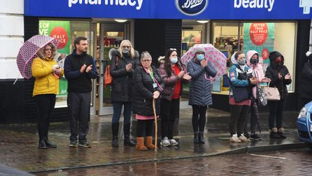 The local community line the streets of Fakenham Town Centre for Fiona Woodcock's funeral procession