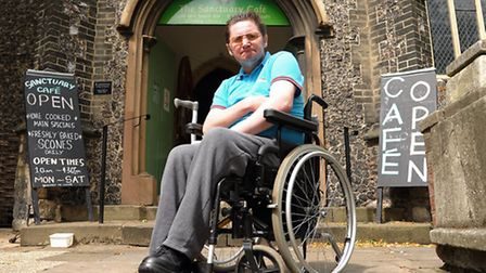 Jon Moore, who was upset at the closure of the All Saints Centre yesterday <Mon>. Picture: Denise Br
