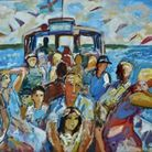 A colourful painted picture of a scene on a ferry by Michael Buckland