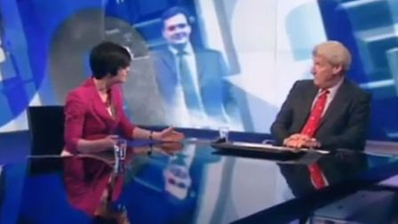 Screen grab of Chloe Smith being interviewed on Newsnight by Jeremy Paxman