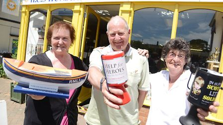 Outside the Hunstanton Charity Shop are (from left) Maureen Penn, David Wrigglesworth and Ann Pethel