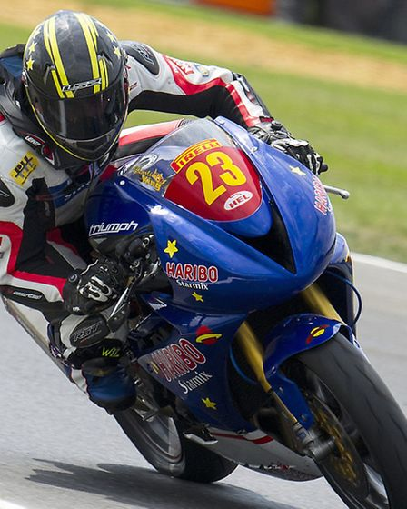Gorleston's Charlie King on his Haribo Starmix Triumph 675 at Riches during the Snetterton British S