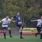 Exmouth Town striker Jordan Harris in action during the meeting with Hallen at Southern Road. Picture; GERRY HUNT