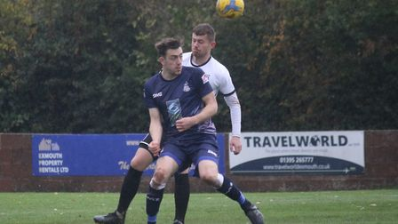 Exmouth Town striker Jordan Harris in action during Town's 5-0 Southern Road win over Hallen. Picture; GERRY HUNT