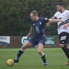 Exmouth Town playmaker Aaron Denny in action during the home win over Hallen. Picture; GARRY HUNT