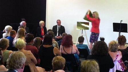 Elizabeth Truss MP unveils a plaque at the opening of the Thetford Alternative Provision Free School