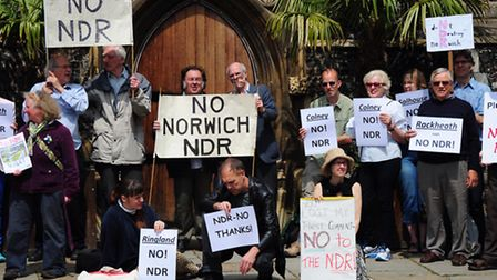 Norwich Northern Distributor Road protesters before the last week's preliminary meeting over the pla