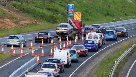 Road works at Postwick cause drivers delays.Photo by Simon Finlay.
