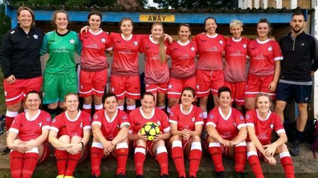 Budleigh Salterton ladies who won their opening game of the new Devon League season, 2-1 at Ottery S