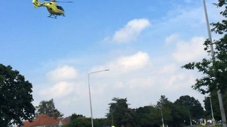 Air ambulance at a crash on Norwich Road in Wymondham today.
