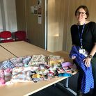 Mill Water School headteacher Sarah Pickering with some of the PPE donated to the school. Picture: G