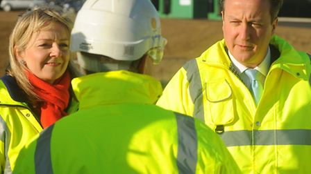 Prime Minister David Cameron visits part of the work on dualling the A11 at Elveden. With him is MP