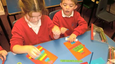 Children in Thrift class atBrancastermaking their Christmas Cards for the EDP project for cards for Care Home residents.