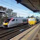 Greater Anglia trains and Freightliner locomotives in Ipswich station.