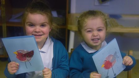 Nursery children, three-year-olds Sienna, left, and Tiasha-Jean at Heartwood Primary and Nursery Sch