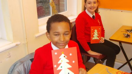 Members of the Leopardsclass at St George's Primary School in Great Yarmouth show off their cards.